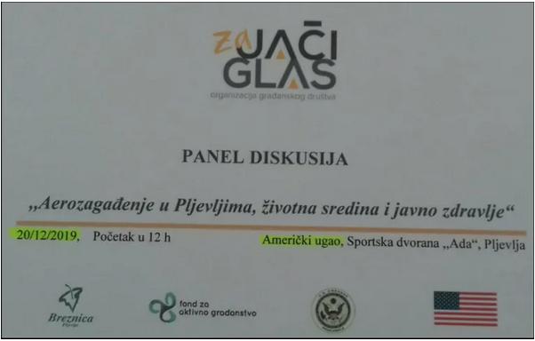 """Održana panel diskusija u prostorijama Američkog ugla: """"Aerozagađenje u Pljevljima, životna sredina i zdravlje ljudi"""""""