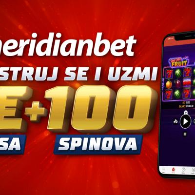 5 eura i 100 spinova za srećan početak u sportskoj kladionici Meridian!