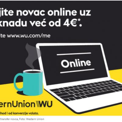Western Union online transfer novca sada dostupan u Crnoj Gori