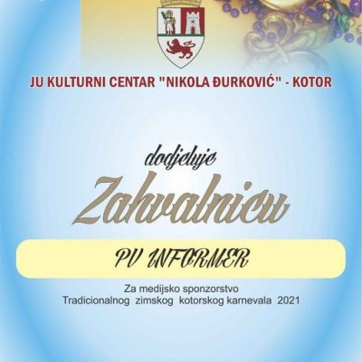 ZAHVALNICA za medijsko sponzorstvo Tradicionalnog zimskog kotorskog karnevala 2021.