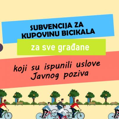 Odobrene subvencije za kupovinu bicikala svim aplikantima koji su ispunili uslove Javnog poziva – potpisivanje ugovora počinje danas