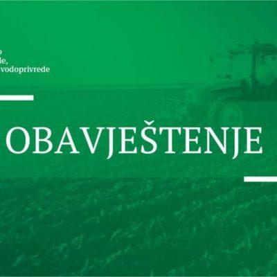 OBAVJEŠTENJE – JAVNI POZIV za dodjelu podrške za direktna plaćanja u biljnoj proizvodnji za 2021. godinu